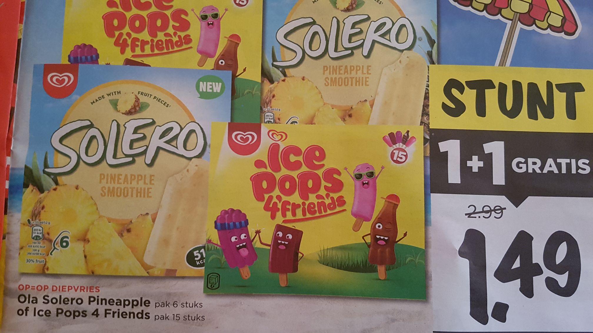 Ola Solero of Ice Pops 1+1 gratis @Vomar