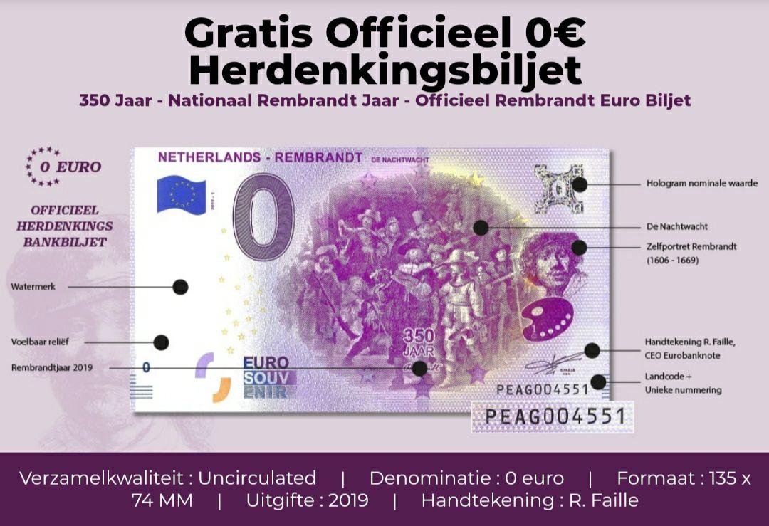 Gratis (alleen verzendkosten) officiële €0 herdenkingsbiljet Rembrandt - de Nachtwacht