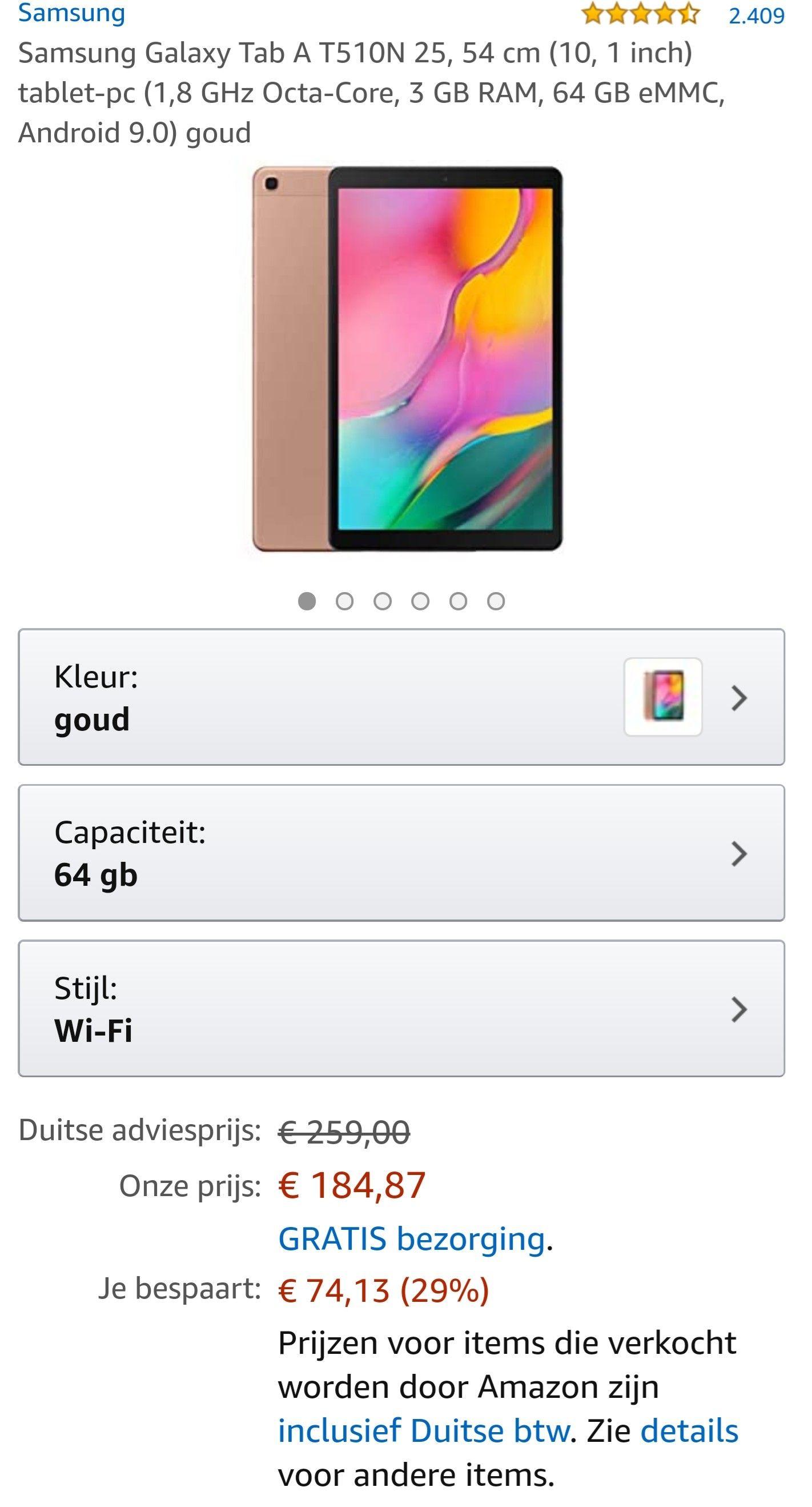 Samsung tab A T510 Goud 64Gb / 3Gb