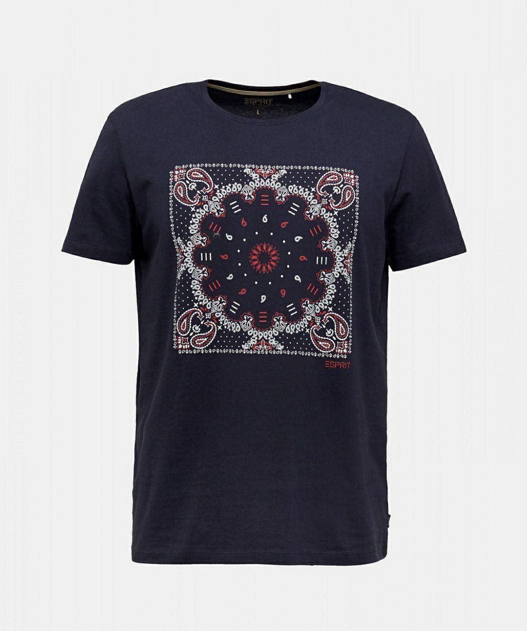 Esprit heren t-shirt met bandanaprint navy