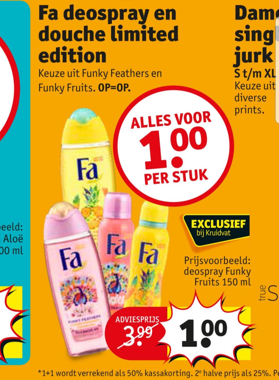 Fa deospray en douche limited edition bij Kruidvat €1 per stuk
