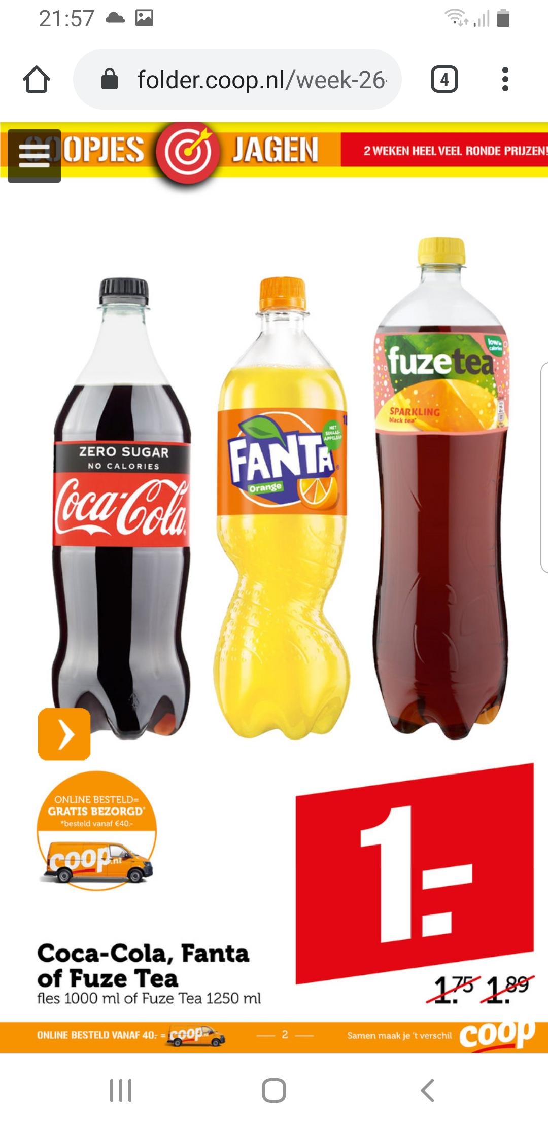 Coca Cola 1L Fanta of Fuze Tea €1 per stuk bij de Coop