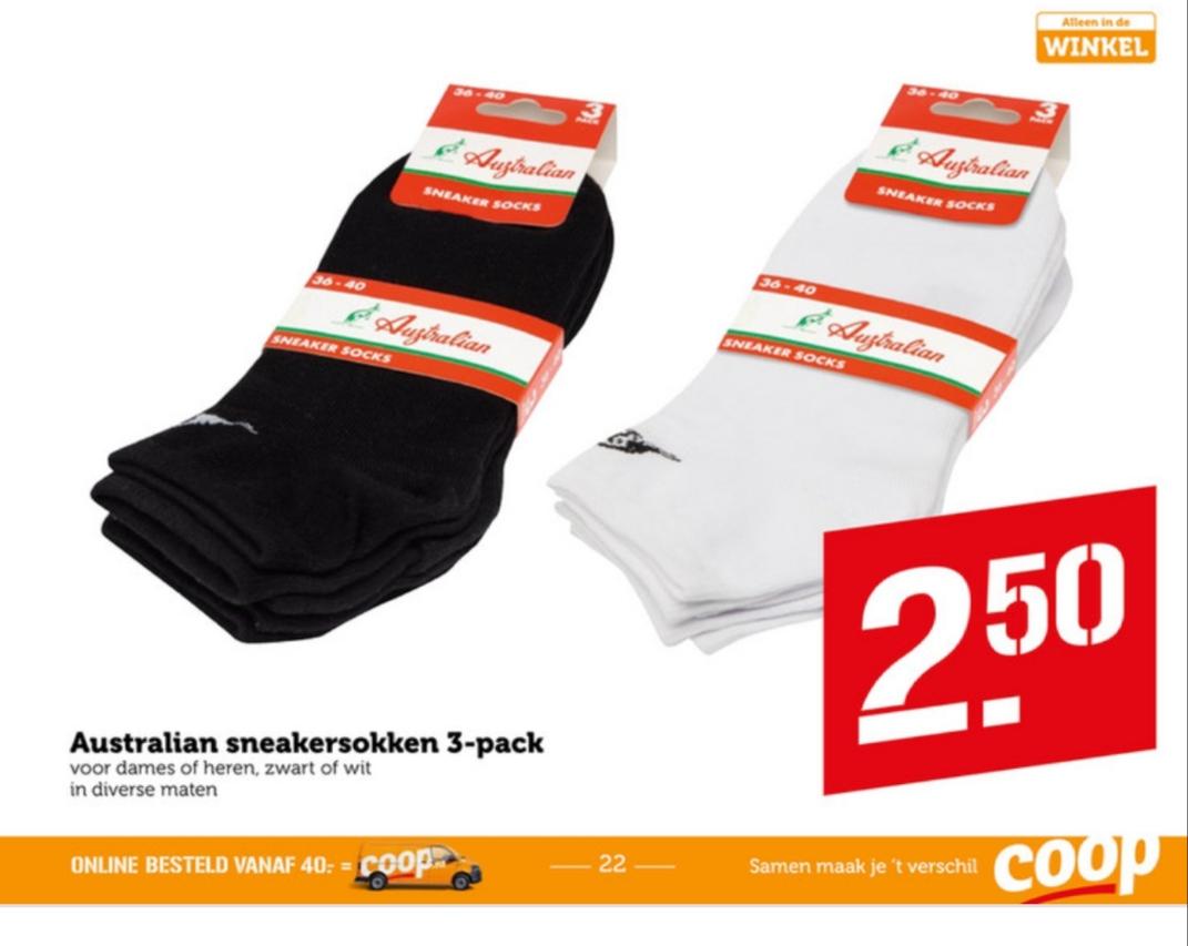 Australian sneakersokken 3 paar voor €2,50 bij de Coop