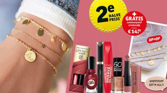 Div. make-up 2e halve prijs + gratis armbandje @ Kruidvat
