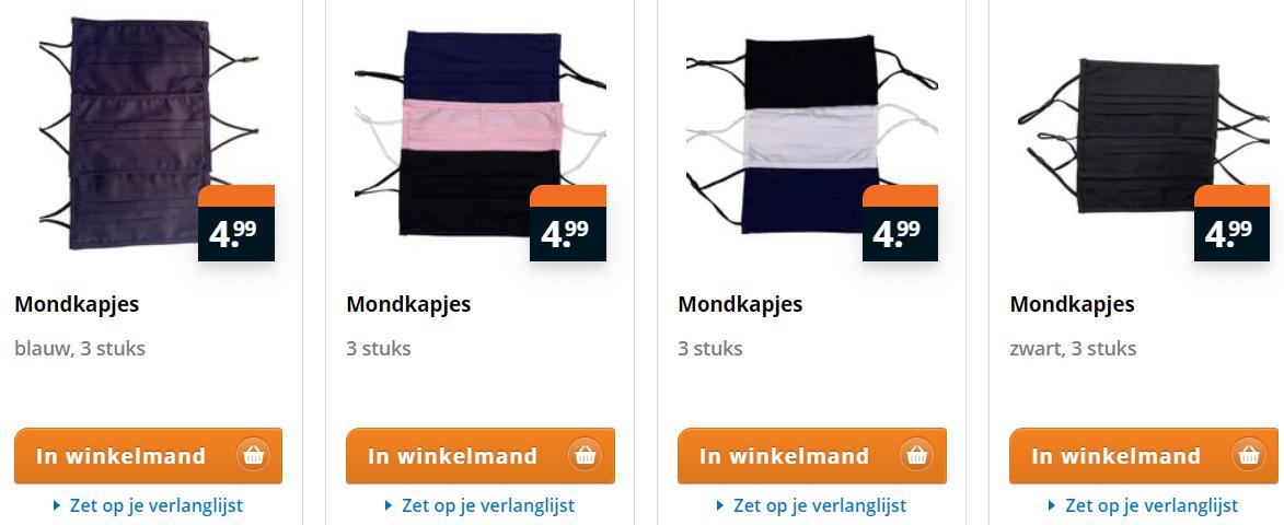 3 katoenen wasbare mondkapjes voor €4,99 bij Trekpleister