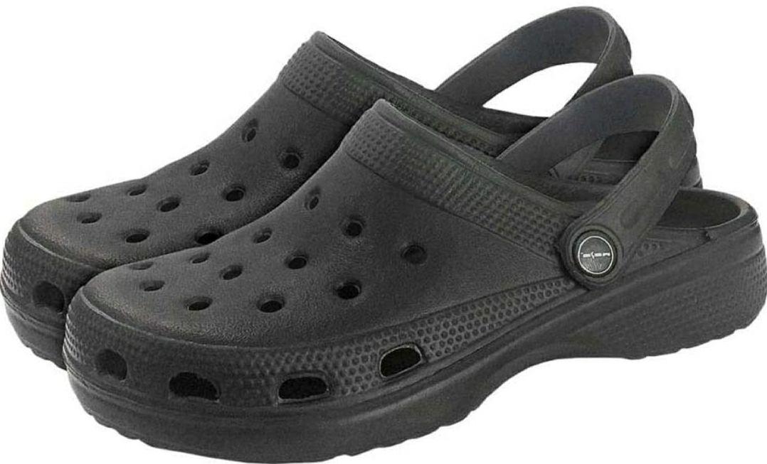 Kunstof Crocs-style pantoffels zwart maat 43