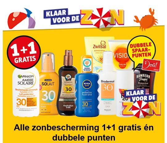 Zonbescherming 1+1 gratis [10 merken] @ Kruidvat