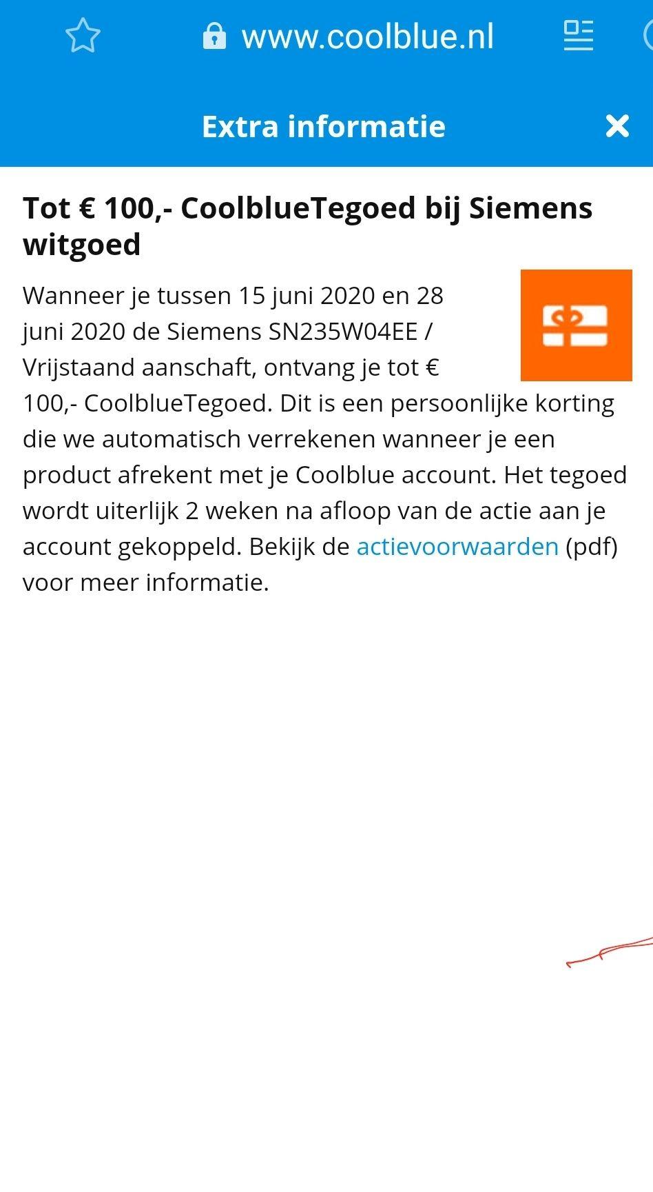 Tot € 100,- CoolblueTegoed bij Siemens witgoed