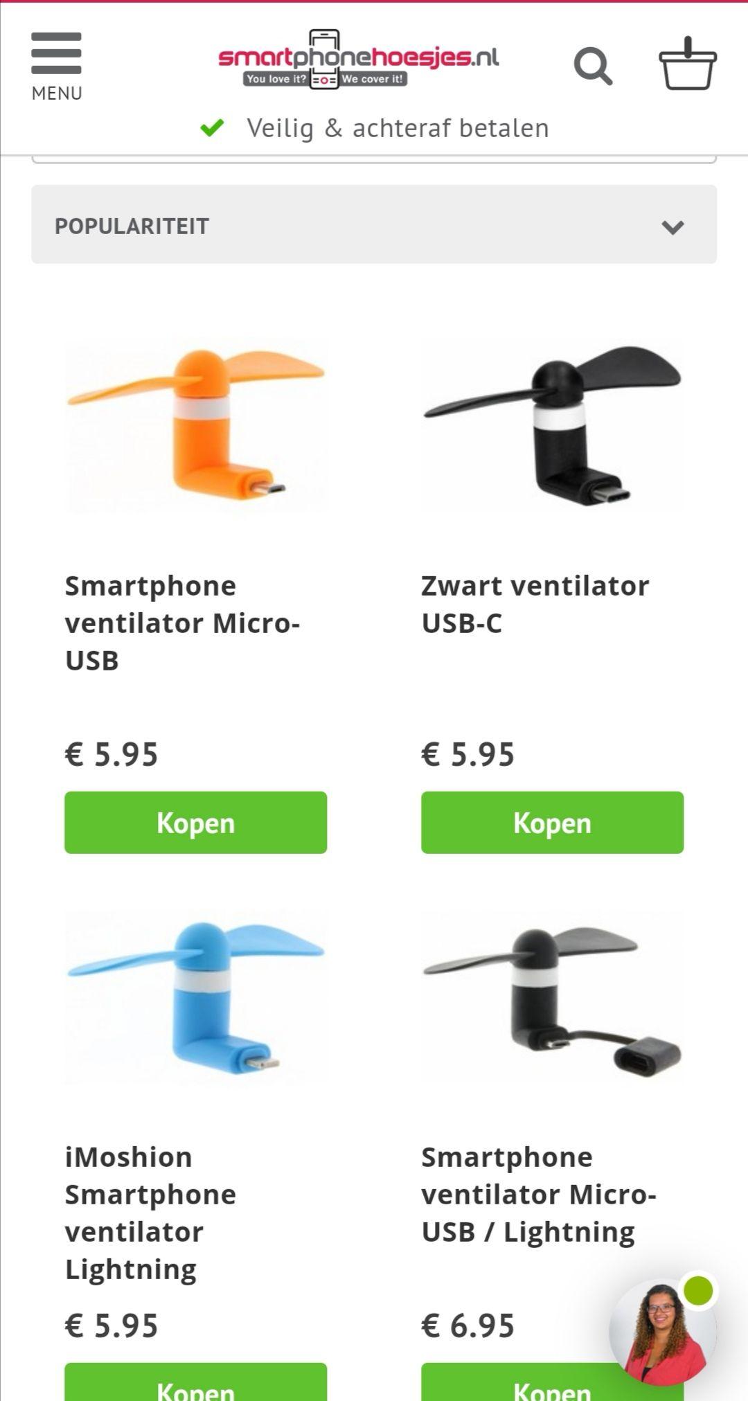 Gratis USB ventilator (Min. bestelwaarde 15 euro) @Smartphonehoesjes.nl
