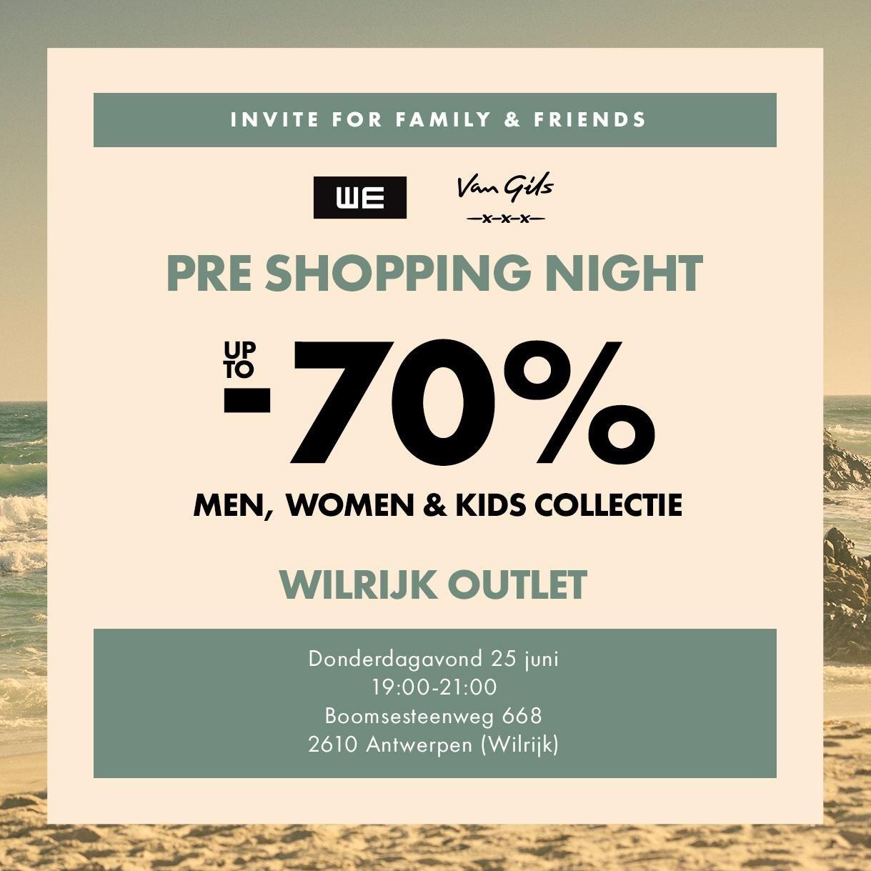 Kortingen tot 70% Shopping night WE Fashion + Van Gils @Wilrijk Antwerpen 25 juni 19:00-21:00