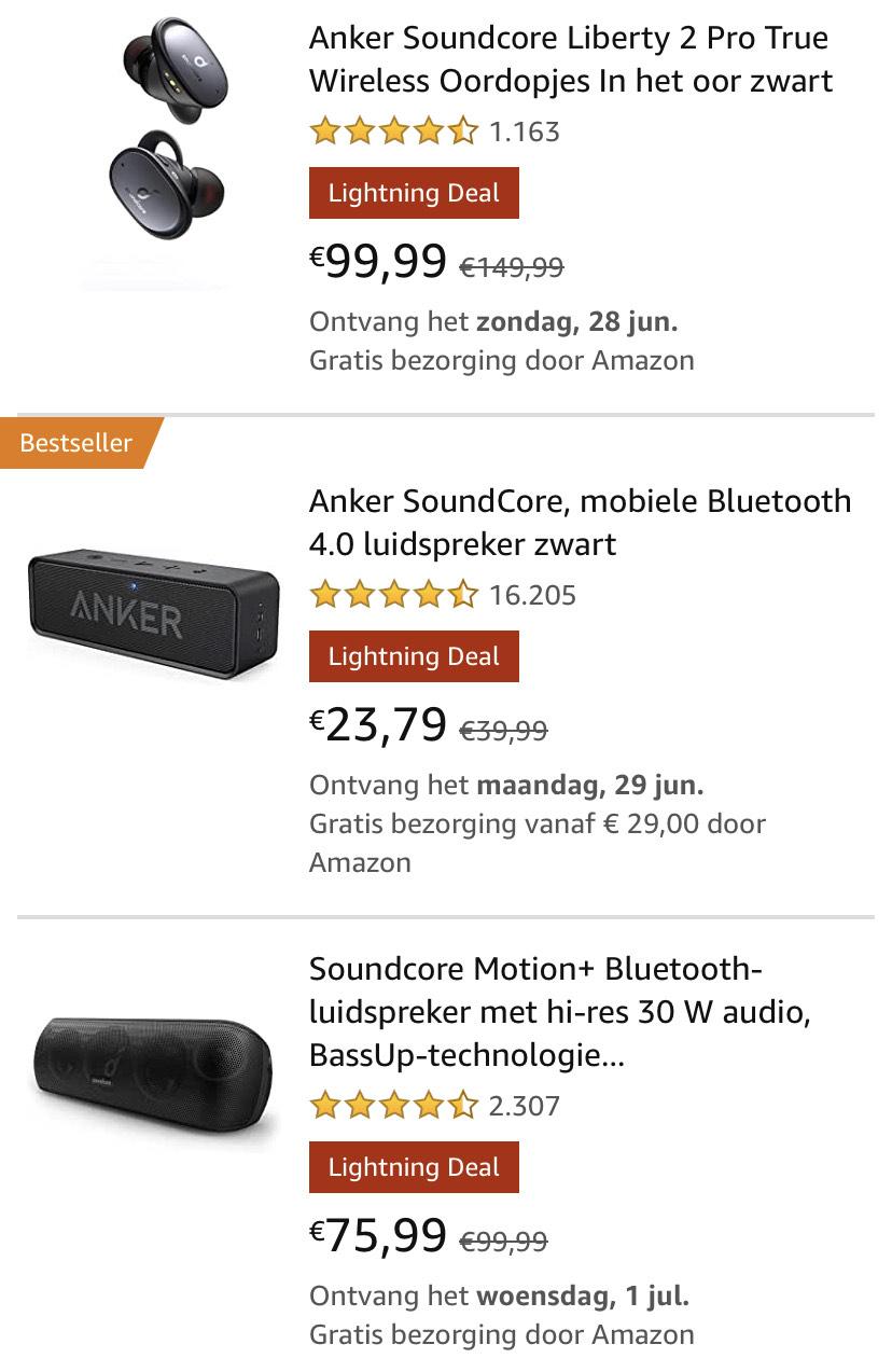 Anker oordopjes en speakers in de aanbieding @ Amazon.de