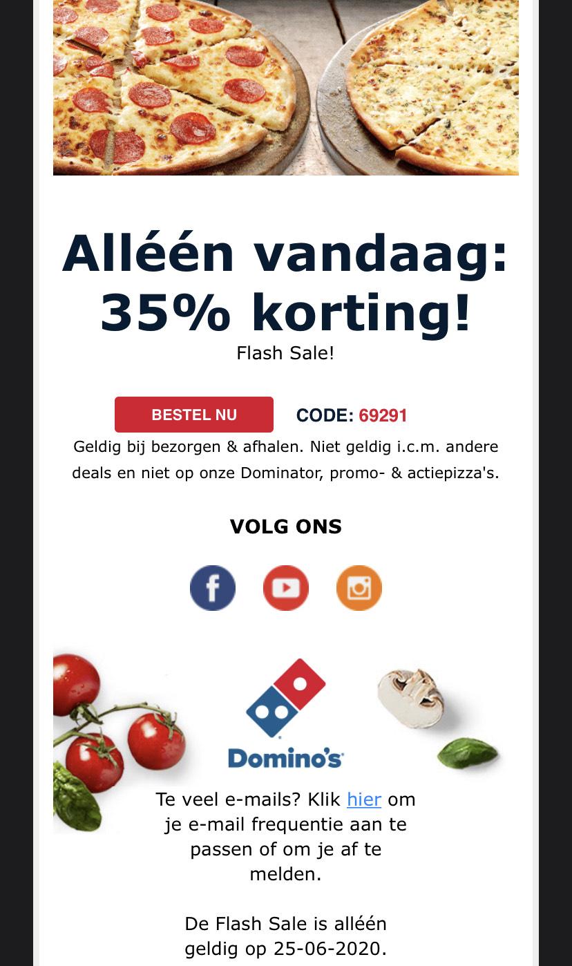 Alleen vandaag 35 procent korting op alle pizza's (excl. Promo & Dominator)