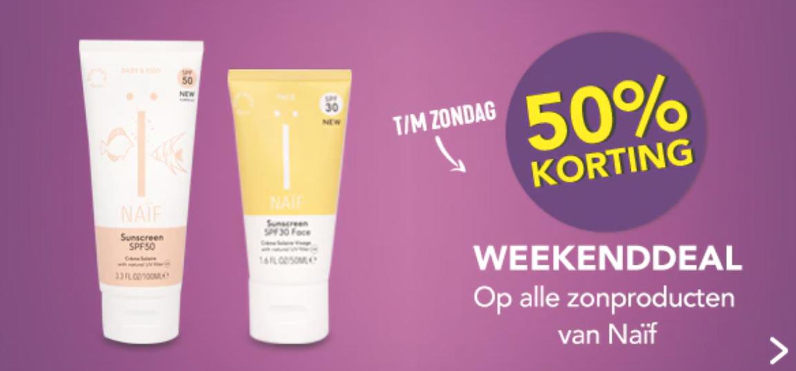 Weekenddeal / 50% korting op Naïf zonproducten bij Holland & Barrett