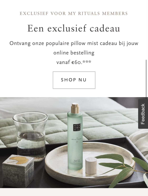 Gratis Rituals Pillow Mist bij besteding van €60