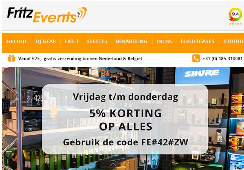5% korting op alles bij Fritz-events, de webshop voor Dj's, licht en geluid.