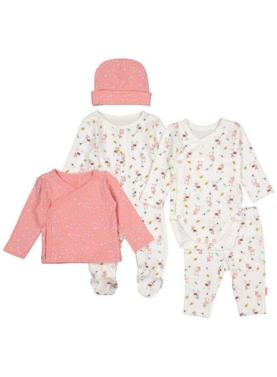 Newborn baby 5-delige set - biokatoen gebroken wit/roze voor €12 (was €25) @ HEMA