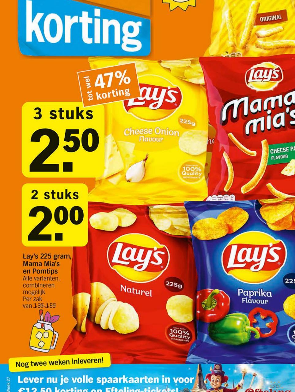 3 zakken Lay's voor €2,50 bij de Albert Heijn