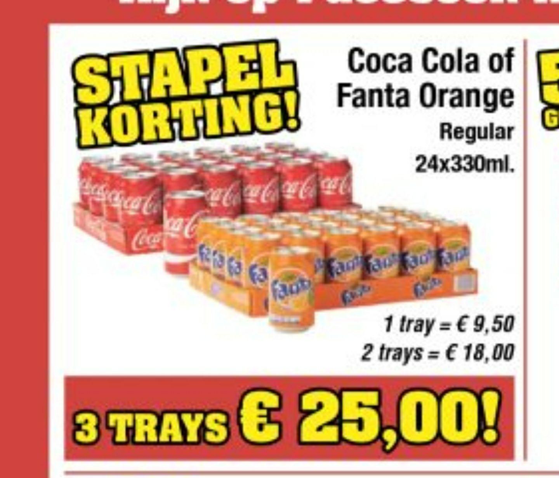 Budget food 3 trays Coca cola of Fanta orange voor 25 euro