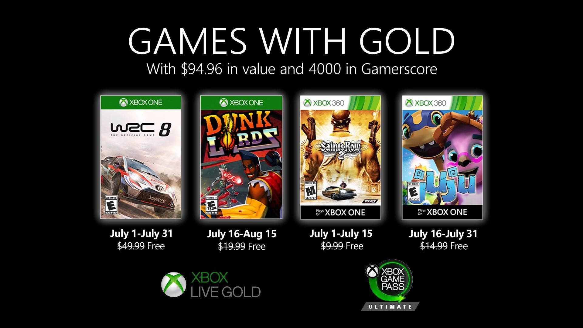 Games with Gold van juli 2020