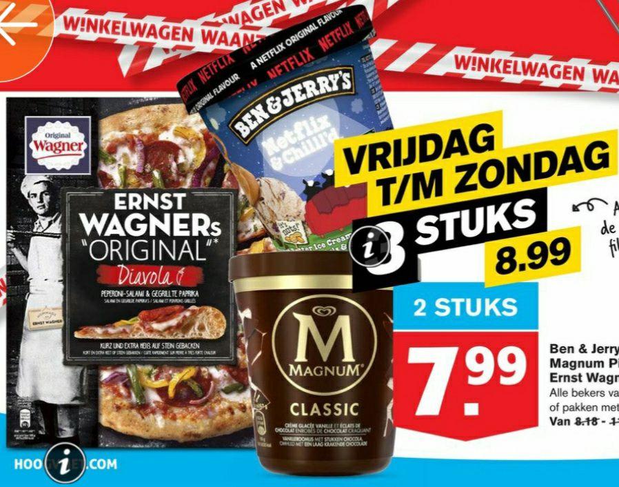 IJS! Ben en jerry's, Magnum Pints of Ernst Wagners pizza 3 voor €8,99 @Hoogvliet