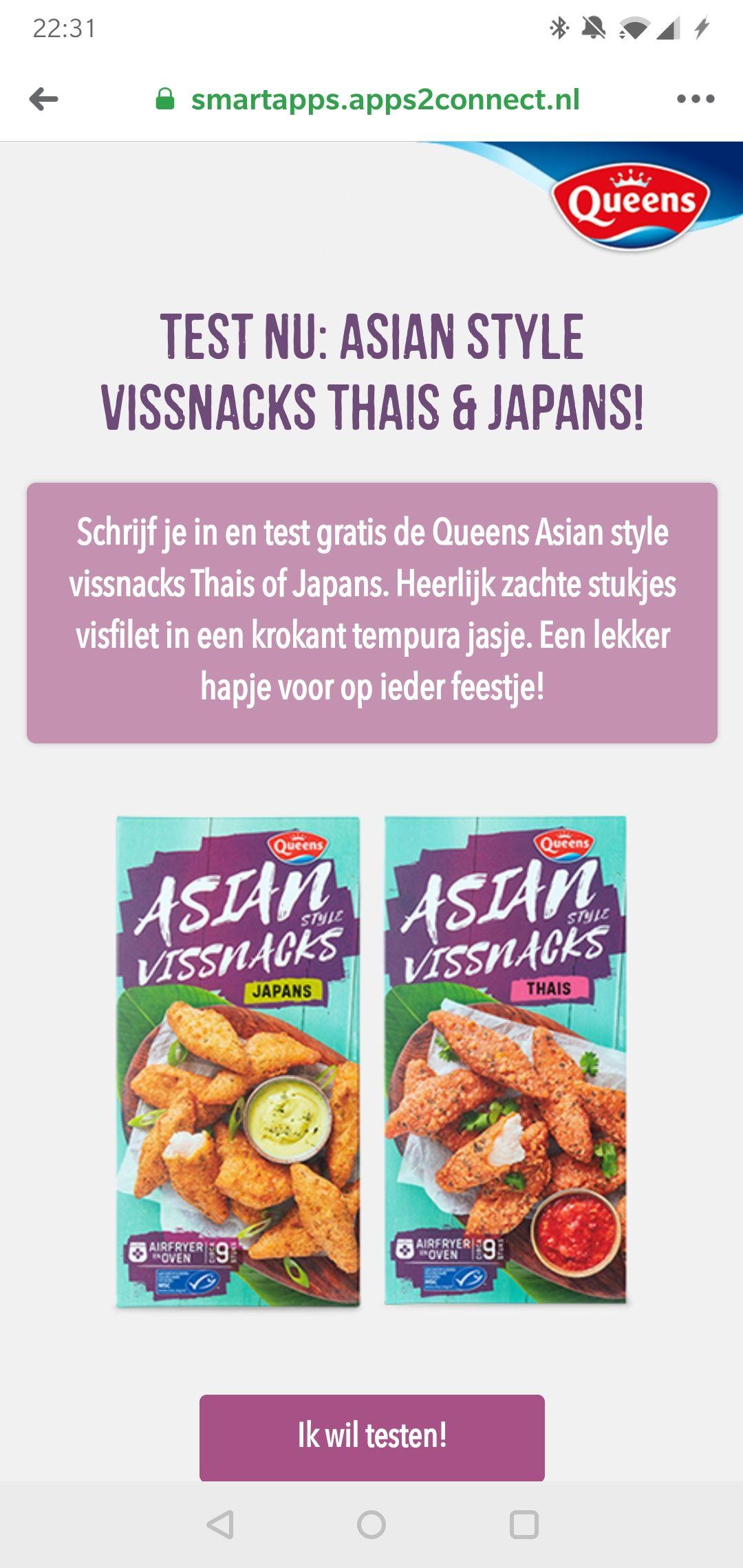 Test gratis Queens Asian Style Vissnacks