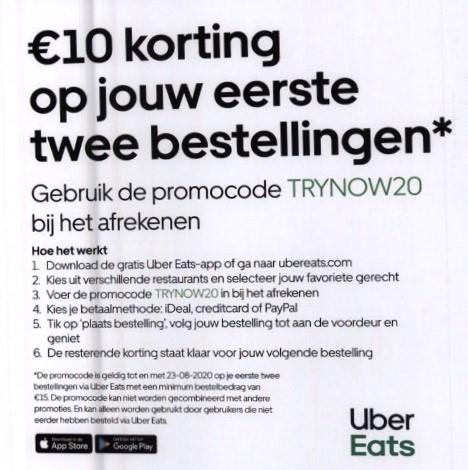 UBEREats 2 x €10 korting op je eerste twee bestellingen