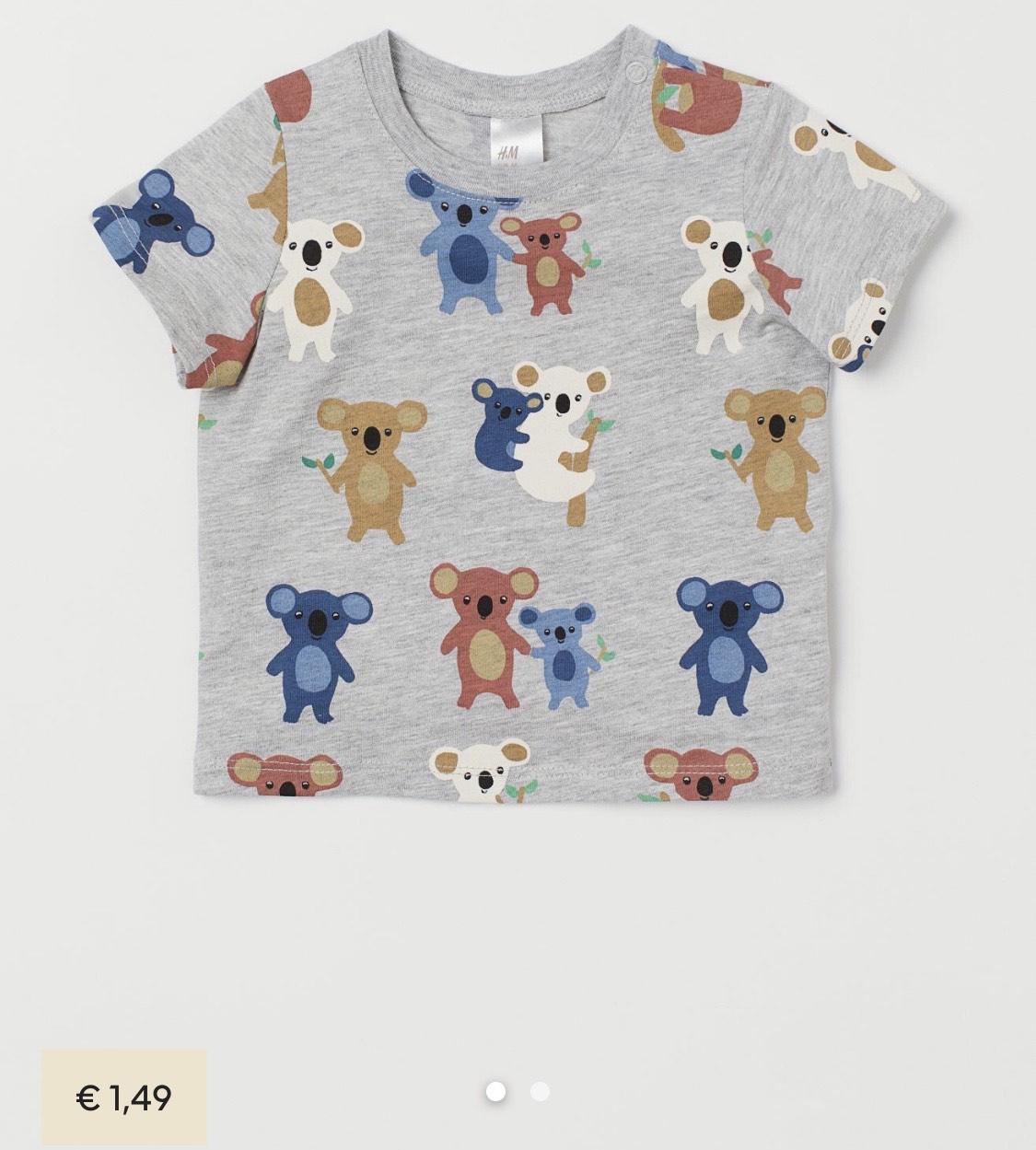 Slechts €1,49: baby / kinder T-shirt met koala's maat 86 en 92 bij H&M
