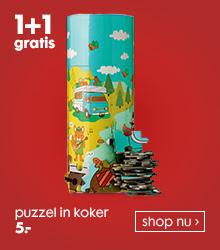 Puzzel in koker of vorm 1+1 gratis voor €5 @ HEMA