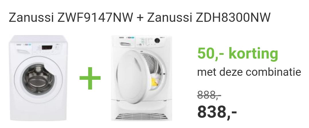 Wasmachine Zanussi ZWF9147NW (9kg) + warmtepomp droger Zanussi (8kg)ZDH8300NW combi korting