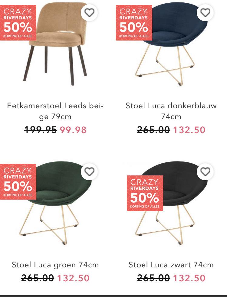 50% korting op Riverdale stoelen, fauteuils en banken