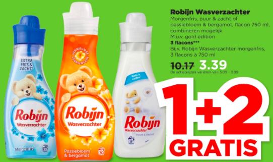 1+2 Gratis: Robijn Wasverzachter bij Plus