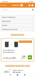 Sonos One (zwart/wit) bundelkorting @ Expert