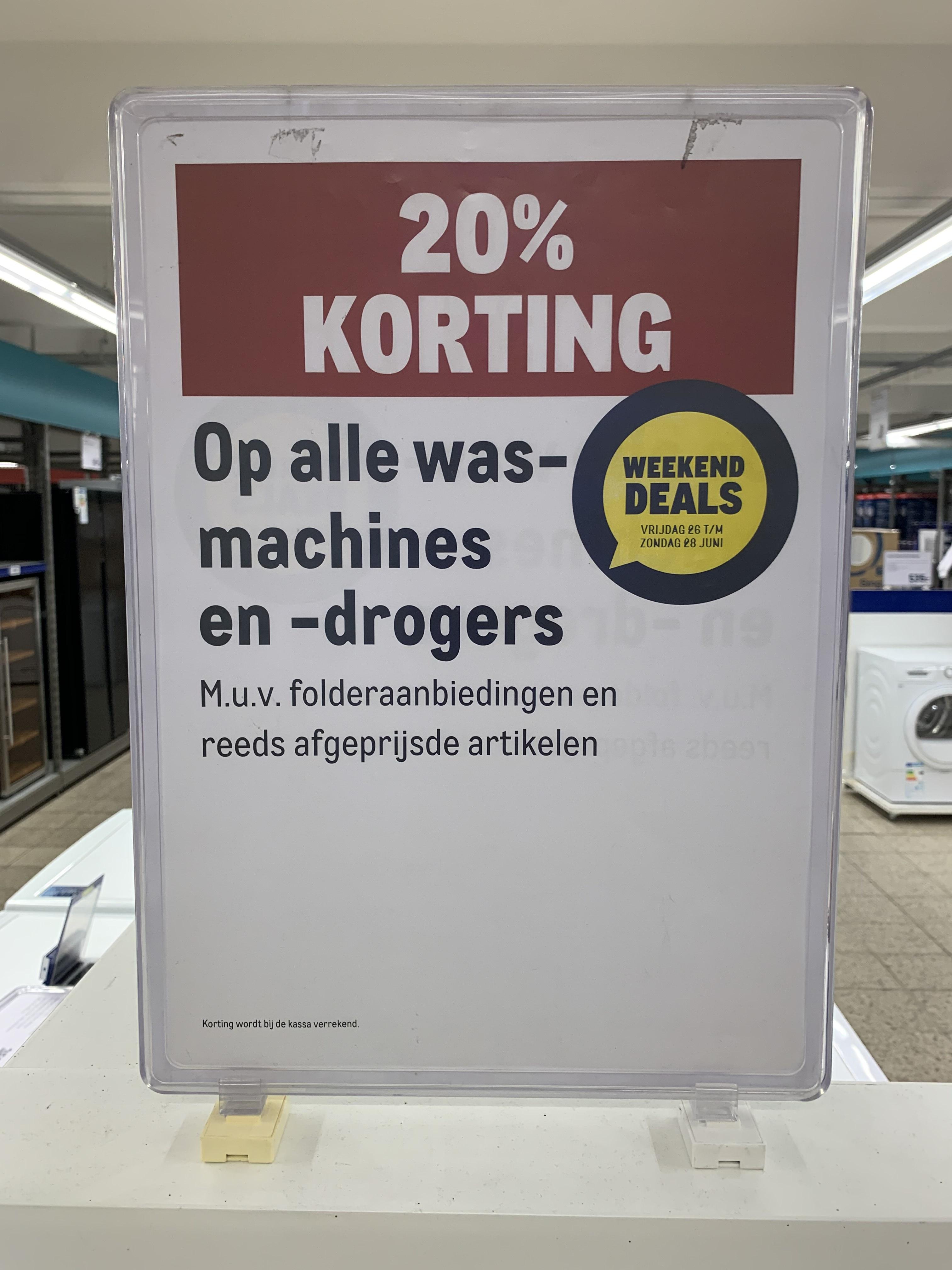 20% korting op wasmachines en drogers bij Makro Delft
