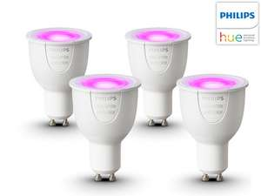 4x Hue Kleuren lamp met GU10 fitting