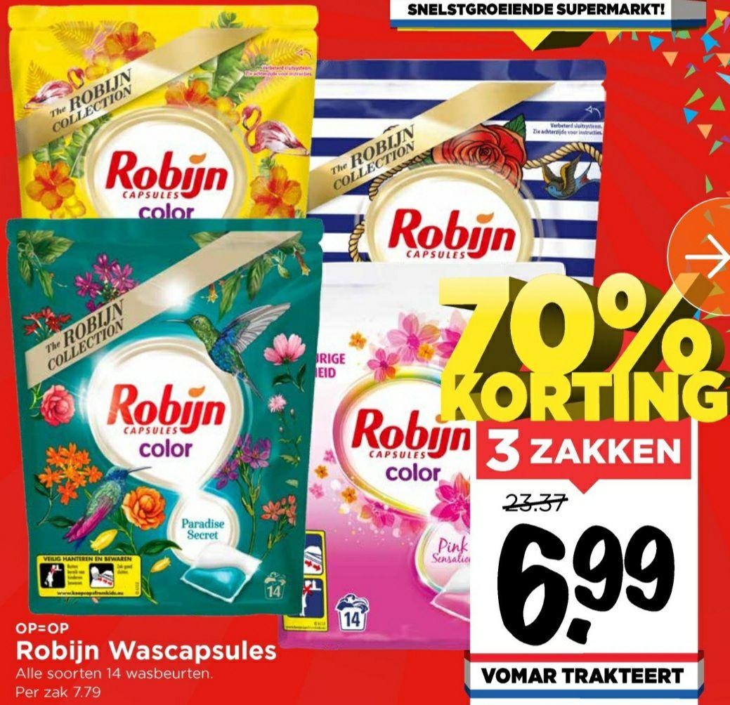 Robijn wascapsules 3 zakken (-70%) voor €6,99 @Vomar