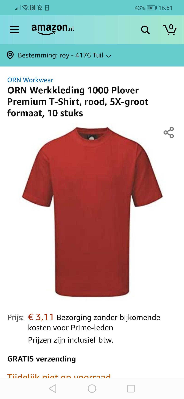 10 t-shirts verschillende maten @amazon.nl