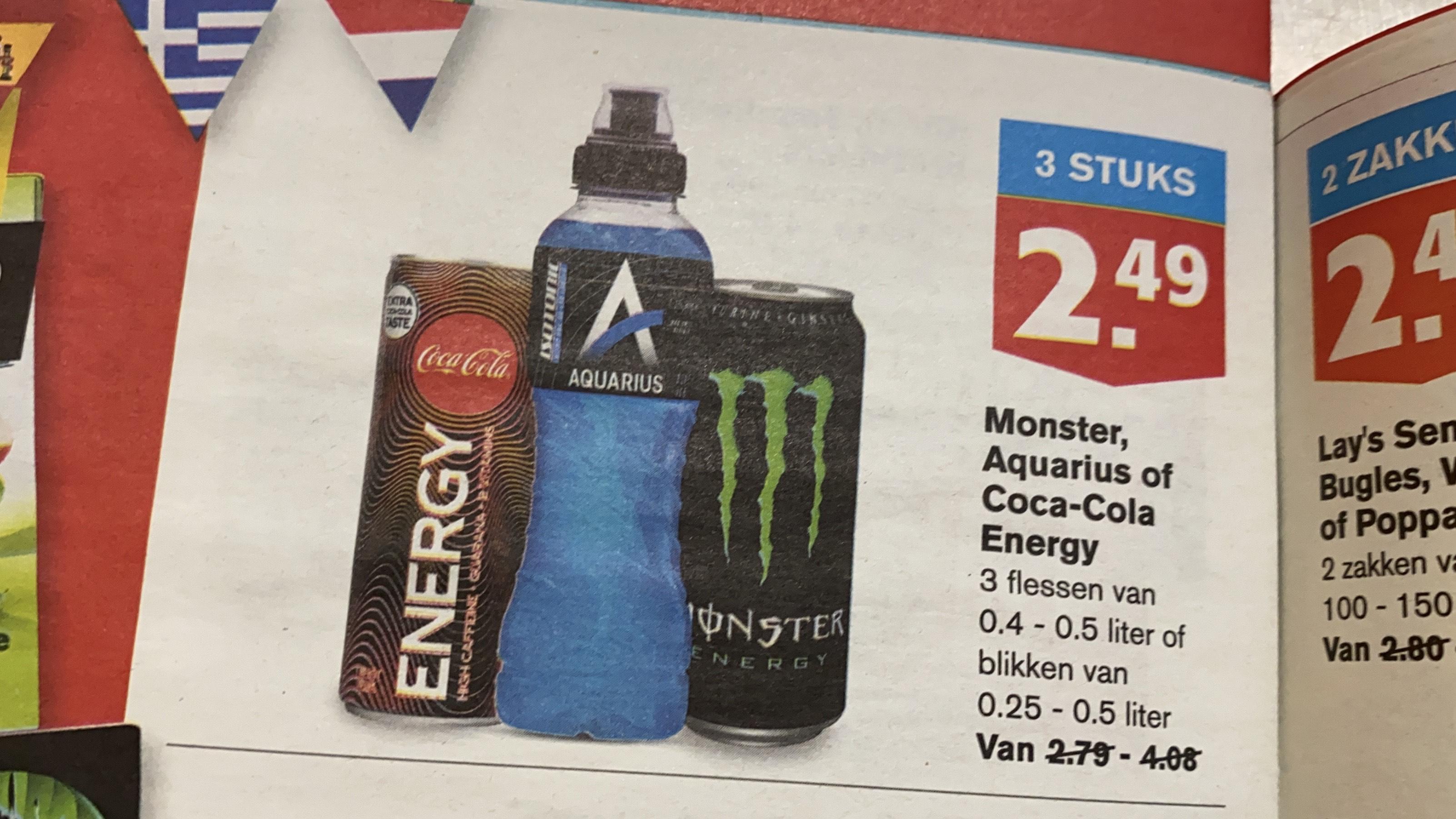3 stuks €2,49. Monster energy HOOGVLIET