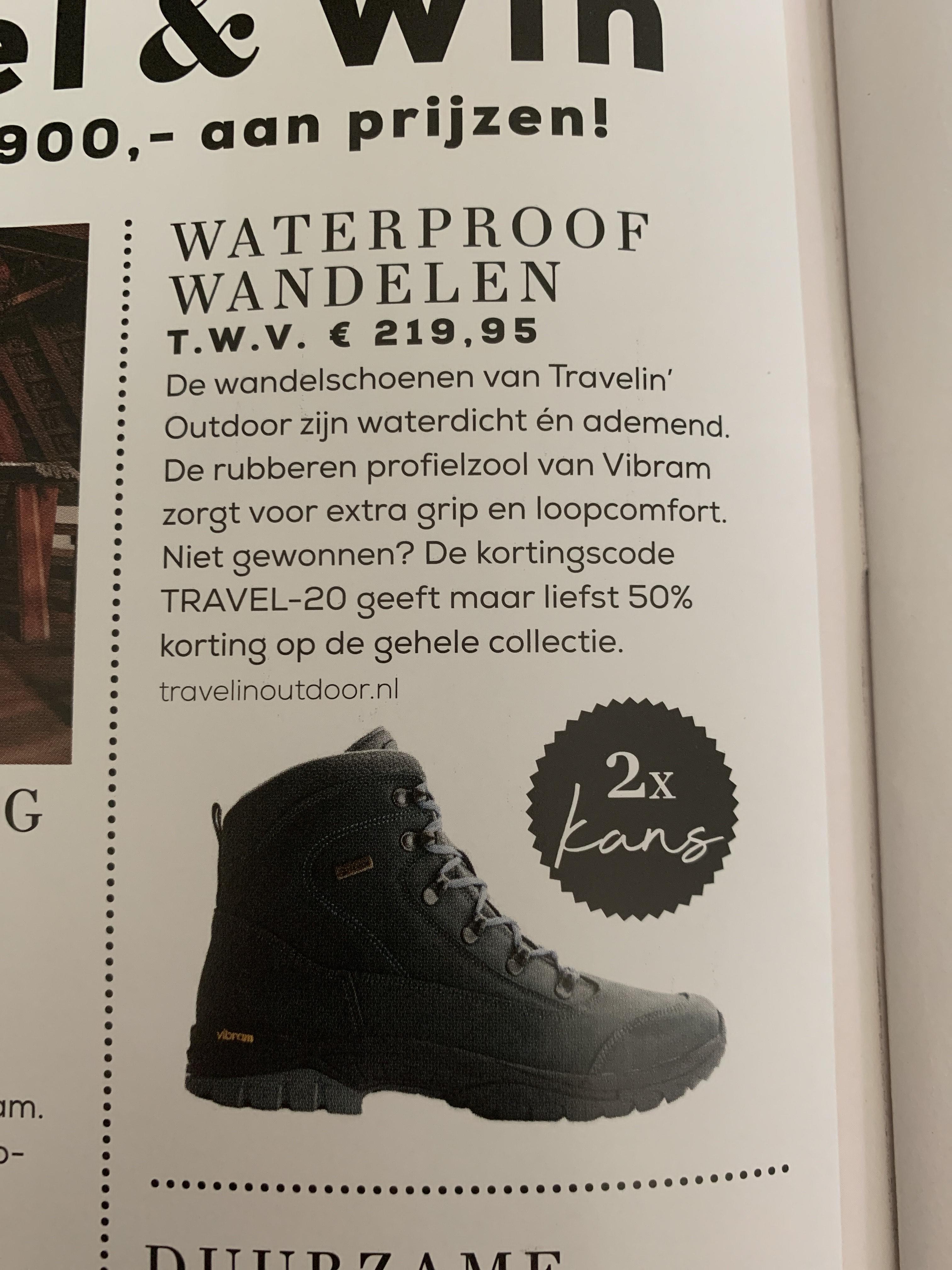 50% korting op de gehele collectie van Travelinoutdoor.nl
