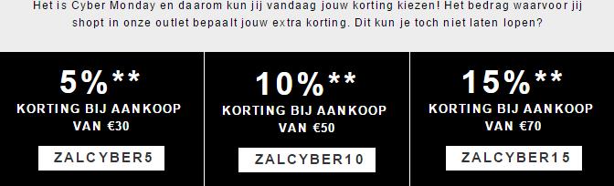[Cyber Monday] 5, 10 of 15% korting @ Zalando door kortingscodes