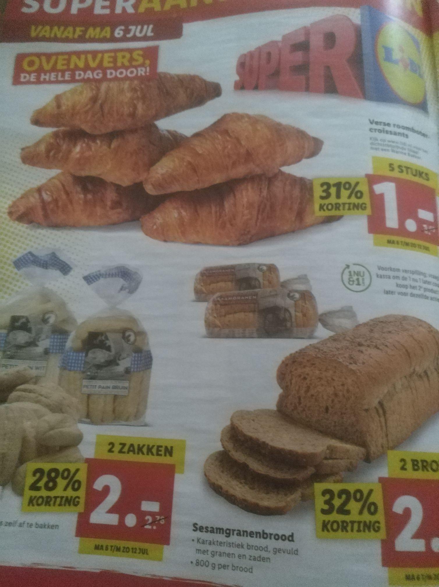 5 roomboter croissants voor €1 bij Lidl