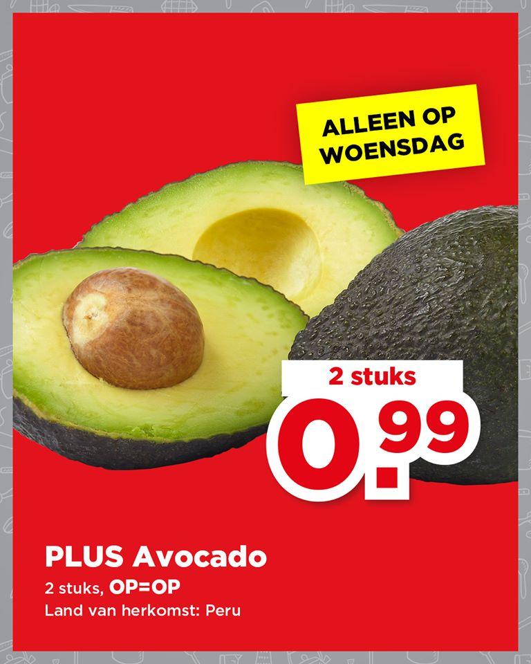 Avocado Dagaanbieding PLUS 2 stuks van €2,50 voor €0,99