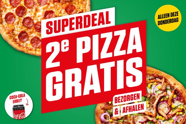 Vandaag (donderdag) elke 2e pizza gratis New York Pizza