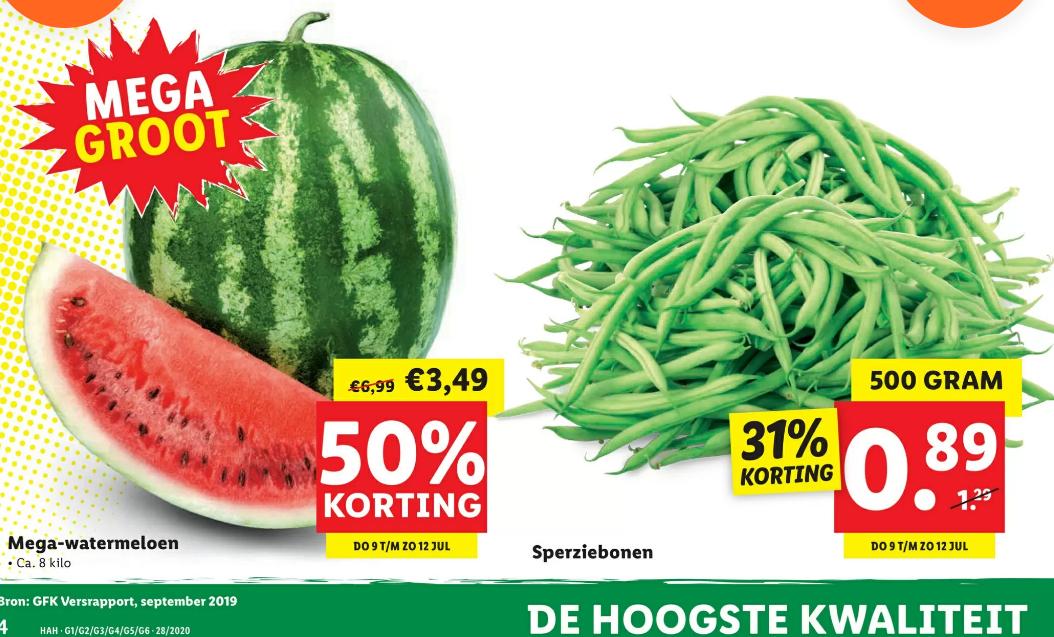 Watermeloen circa 8 kg 50% korting