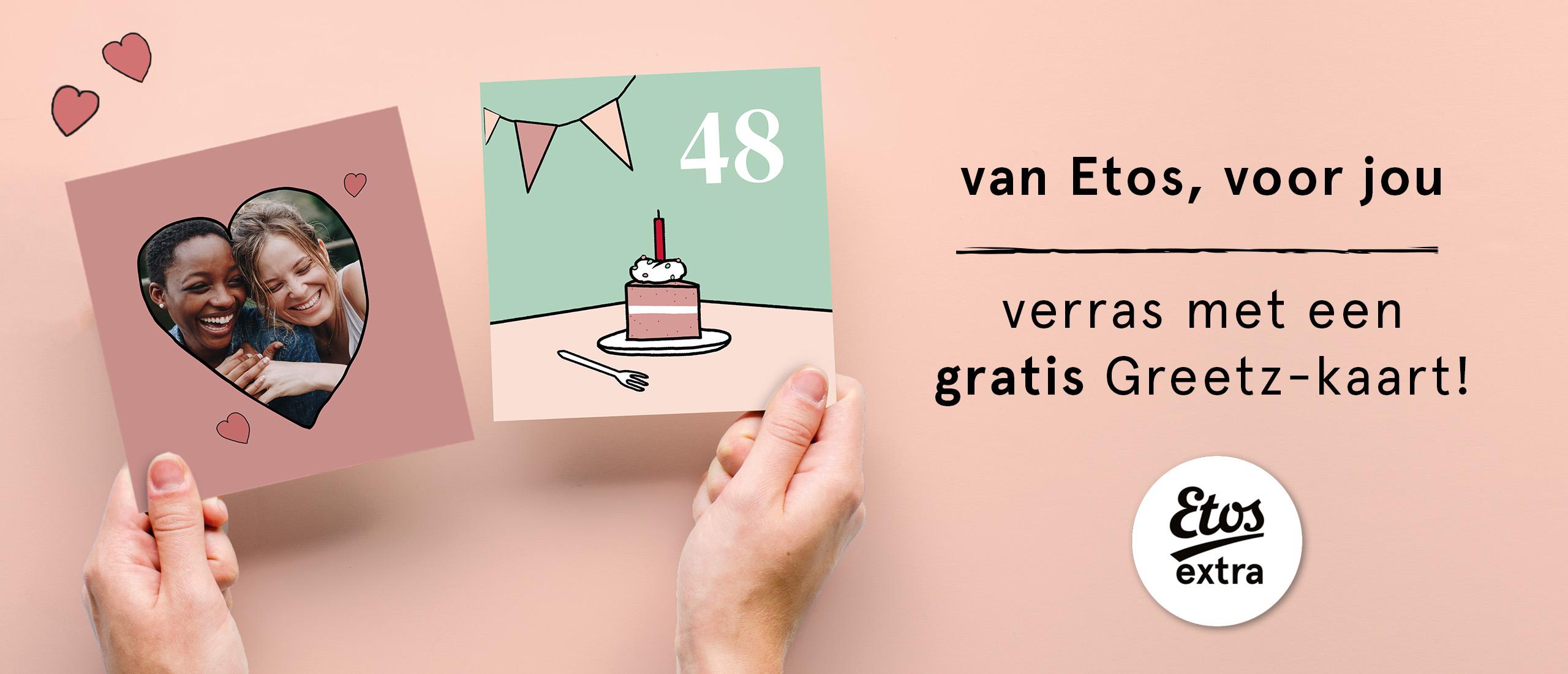 Gratis Etos kaart bij Greetz met code, ook voor niet-leden! Exclusief postzegel