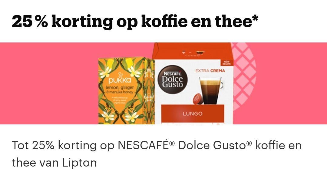 25% korting op koffie/thee @bol.com, Dolce gusto, Starbucks