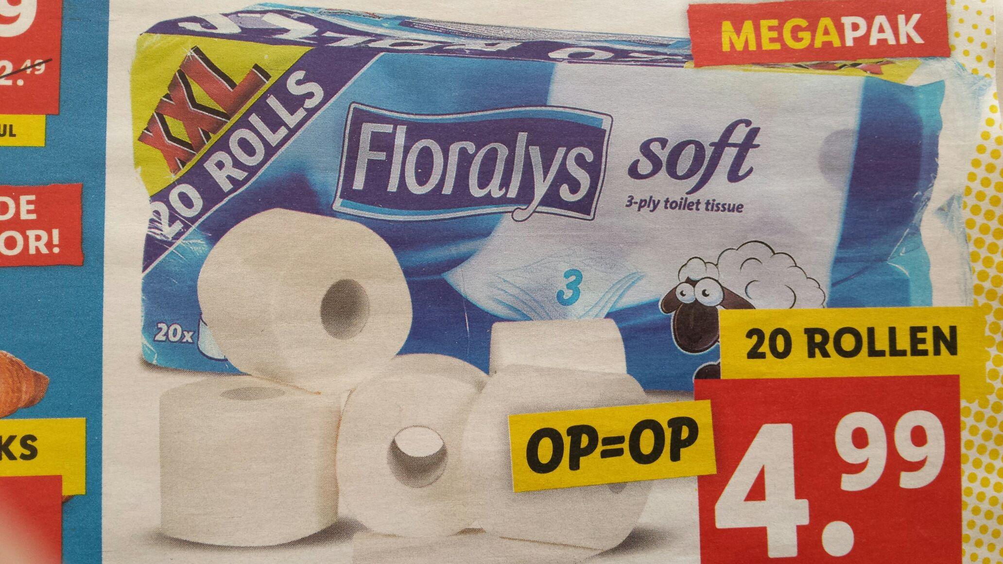 3 laags toiletpapier 200 velletjes per rol, megapak van 20 rollen bij Lidl