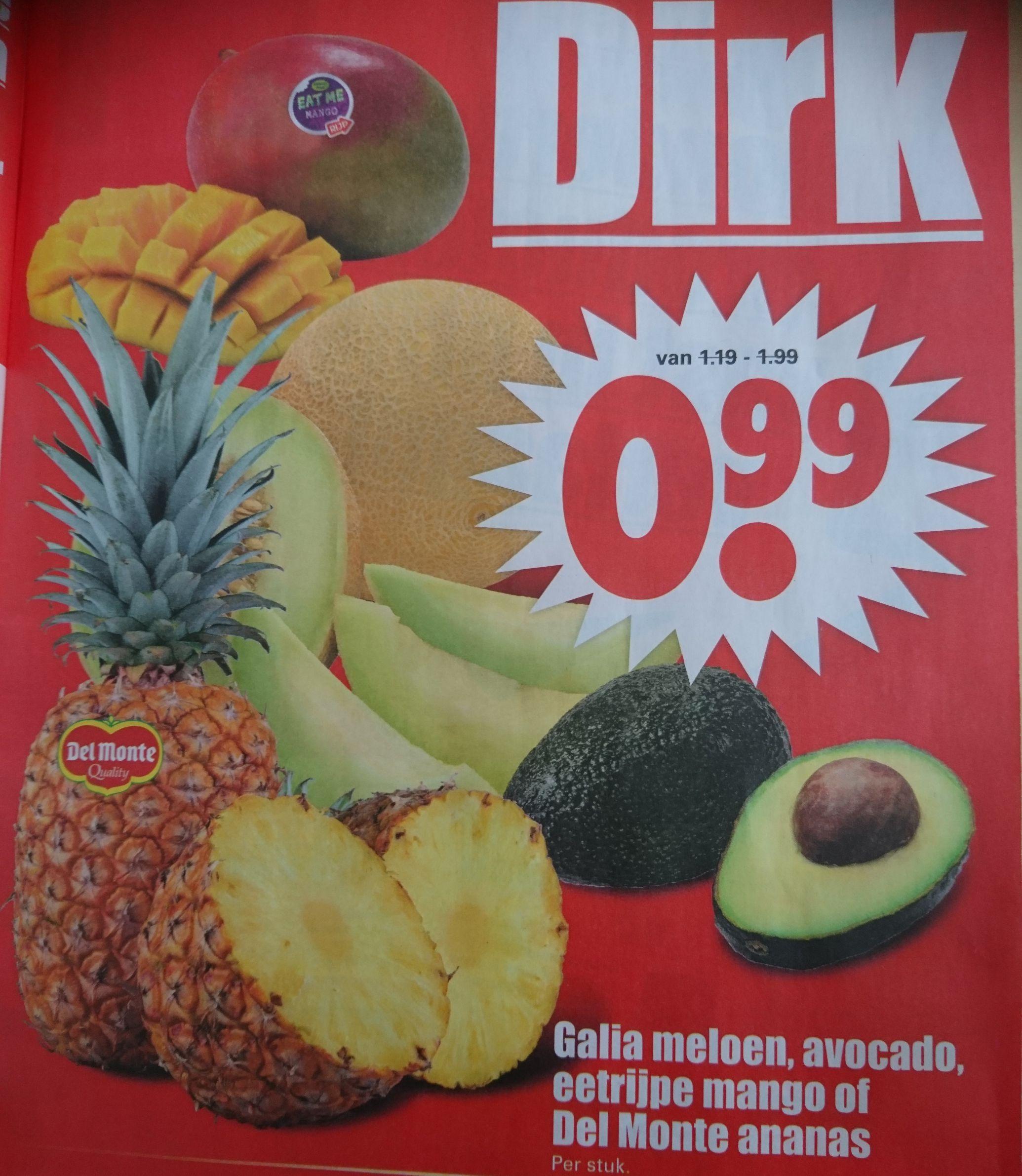 Bij Dirk Galia meloen, avocado, mango, Del Monte ananas