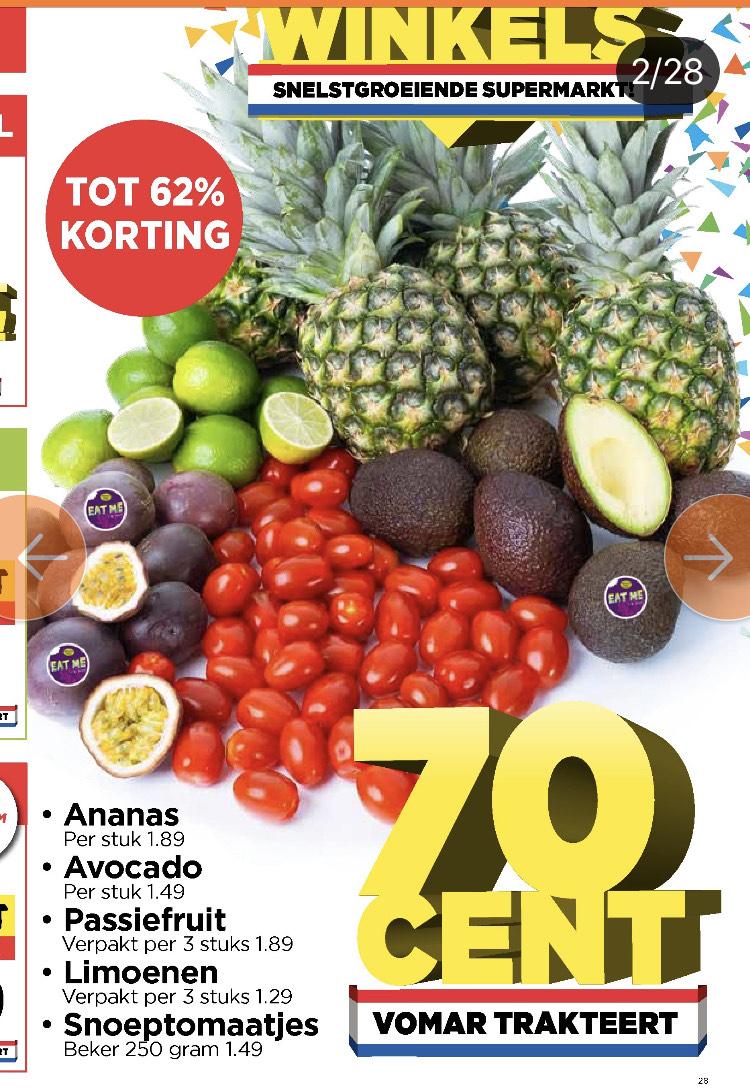 O.a Ananas en divers ander fruit en groente voor slechts 70 cent