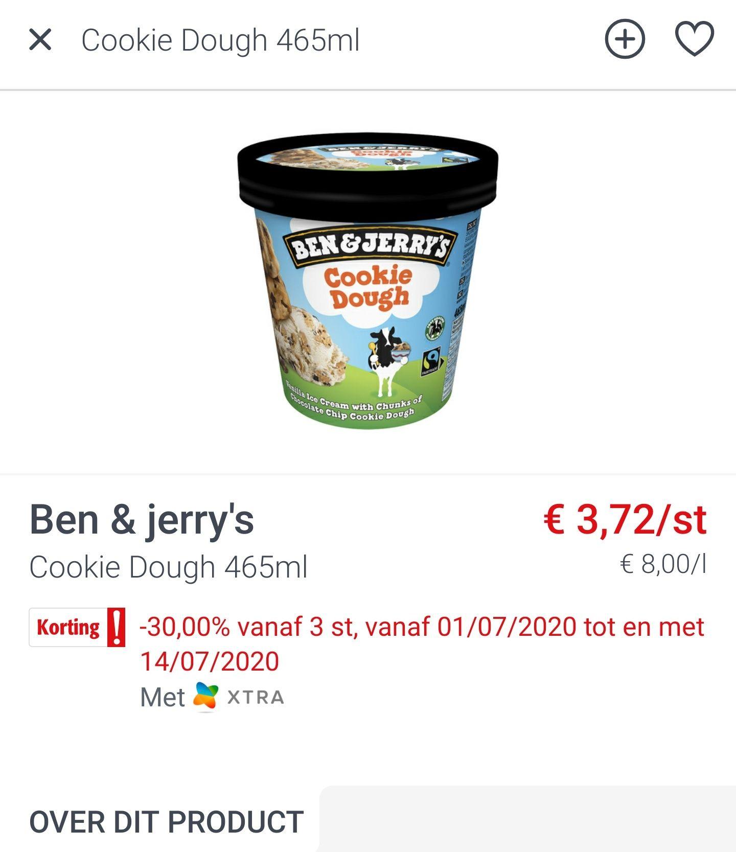 [GRENSDEAL BELGIË] 3 x Ben & Jerry's potten voor €7,81
