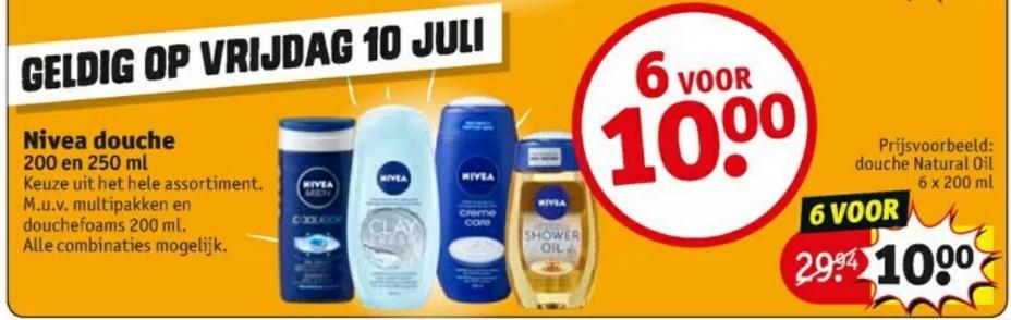 Nivea Douche 200 en 250ml - 6 stuks voor 10 euro